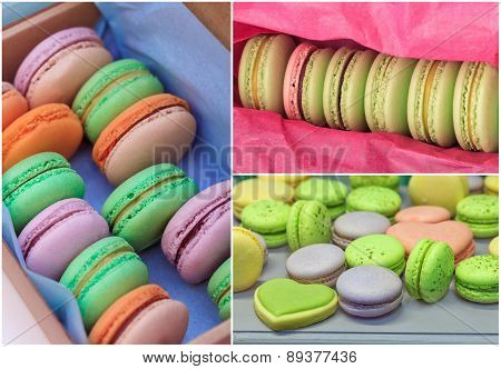 Macarons close-up collage
