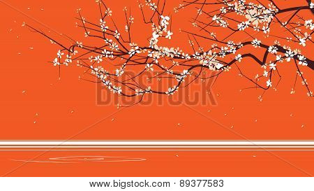 Horizontal Abstract Illustration Drawing Of Blossoming Tree Branch.