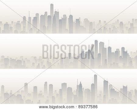 Horizontal Banners Of Big City In Haze.