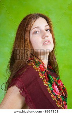 Portrait Of Long-haired  Girl