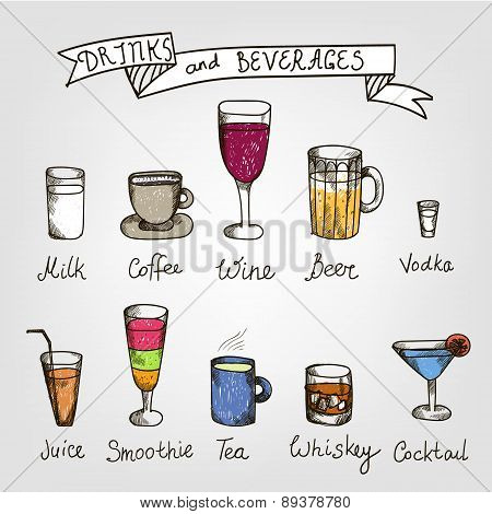 set of vector hand drawn drinks