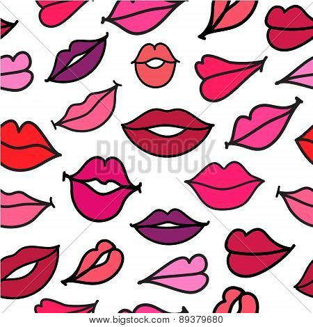 vector red hand drawn kisses lips seamless