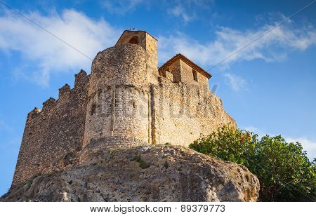 Medieval Stone Castle On The Rock In Spain