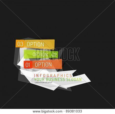 Modern origami paper infographics, business polygonal abstract design