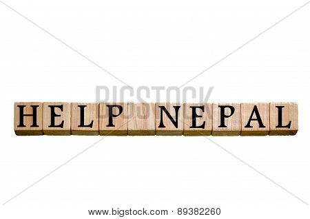 Message Help Nepal Isolated On White Background
