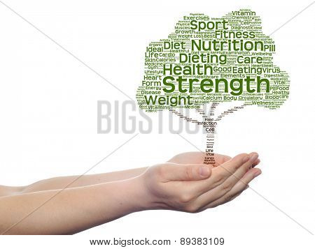 Concept or conceptual green health text word cloud or tagcloud as tree in man or woman hand isolated on white background