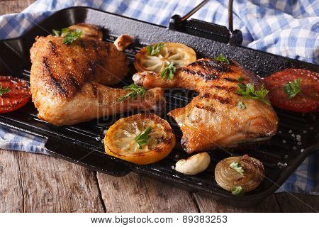 Chicken Legs Grilled On A Grill Pan Close-up. Horizontal