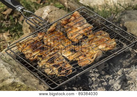 Roast chicken on the grill