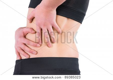 Woman with back injury on white background