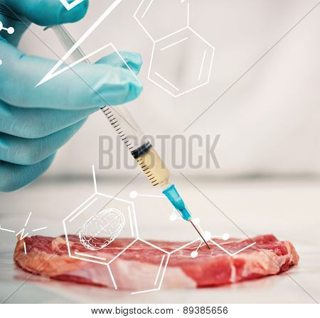 Science and medical graphic against close up of a gloved researchers hand injecting meat