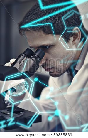Science and medical graphic against scientific researcher using microscope in the laboratory