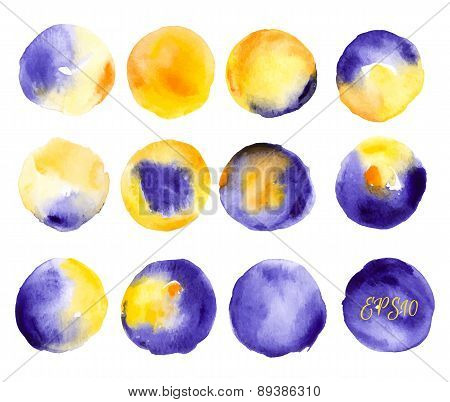 Vector watercolors pattern. Round shapes pattern. Painted ornament.