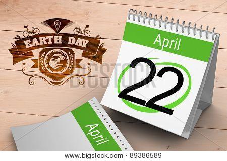 April calendar against overhead of wooden planks