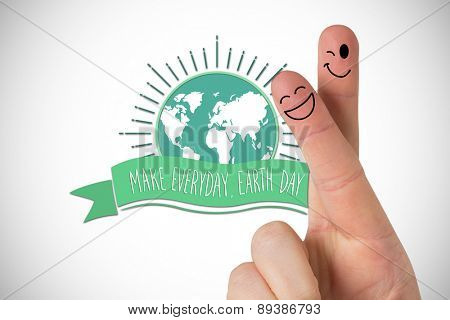 Fingers smiling against white background with vignette