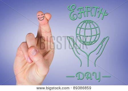 Smiling fingers against purple vignette