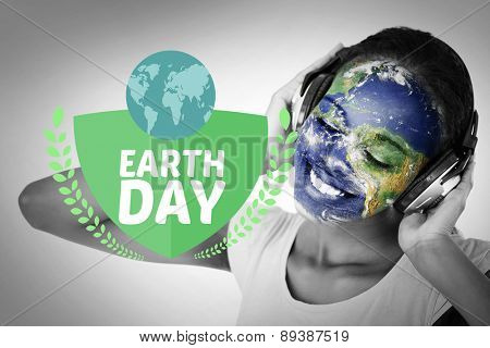 earth day graphic against earth overlay on face