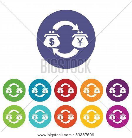 Dollar-yen exchange icon set