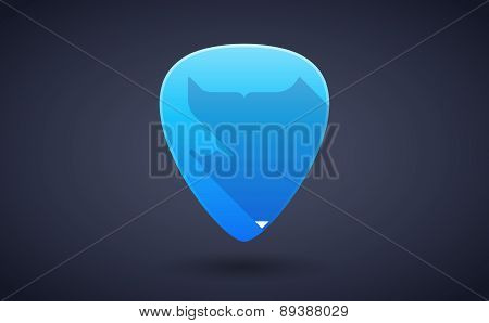 Blue Guitar Pick Icon With A Water Sign