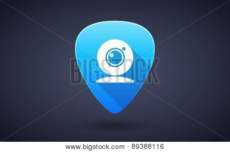 Blue Guitar Pick Icon With A Moon