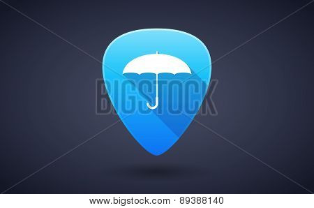 Blue Guitar Pick Icon With An Umbrella
