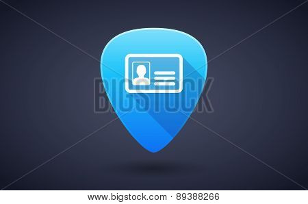 Blue Guitar Pick Icon With An Id Card