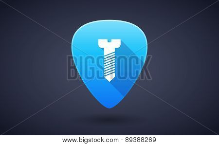 Blue Guitar Pick Icon With A Screw