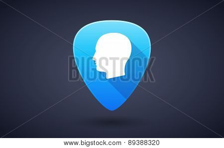 Blue Guitar Pick Icon With A Male Head
