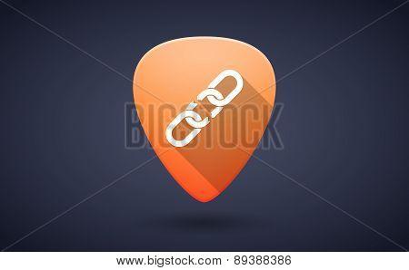 Orange Guitar Pick Icon With A Chain