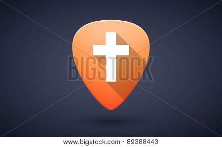 Orange Guitar Pick Icon With A Cross