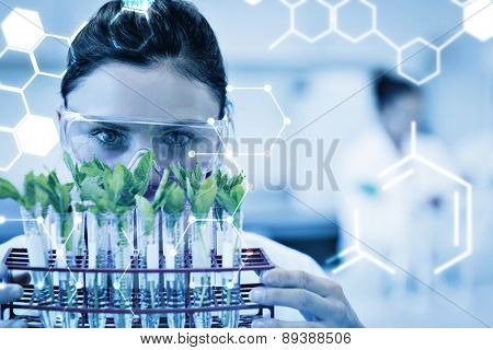 Science graphic against female scientist with young plants at lab