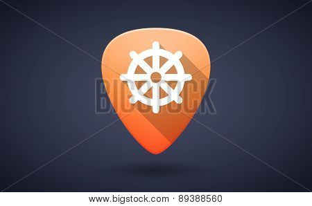 Orange Guitar Pick Icon With A Dharma Chakra