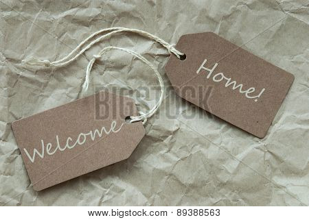 Beige Labels With Welcome Home Paper Background