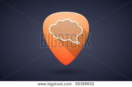Orange Guitar Pick Icon With A Cloud Comic Balloon