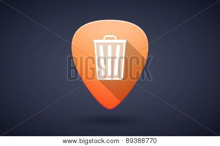 Orange Guitar Pick Icon With A Trash Can