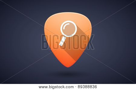 Orange Guitar Pick Icon With A Magnifier