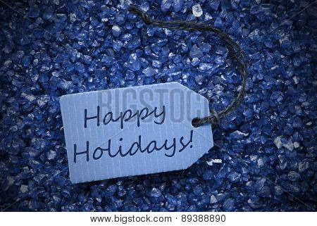 Purple Stones With Label Happy Holidays
