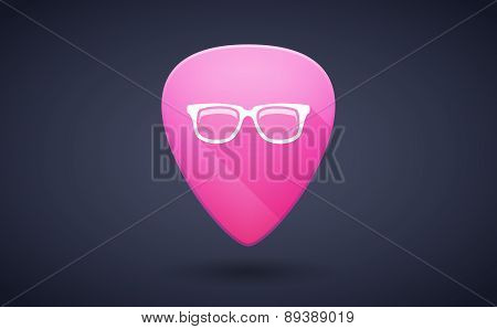 Pink Guitar Pick Icon With A Glasses