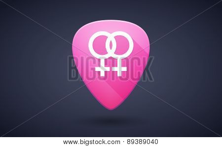Pink Guitar Pick Icon With A Lesbian Sign