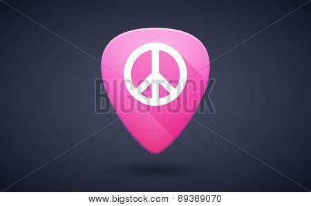 Pink Guitar Pick Icon With A Peace Sign