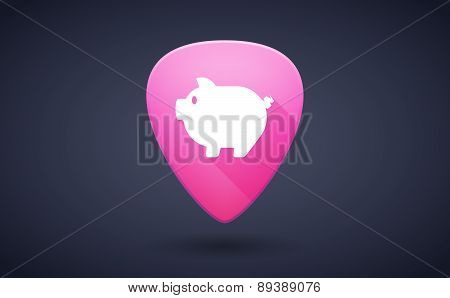 Pink Guitar Pick Icon With A Pig