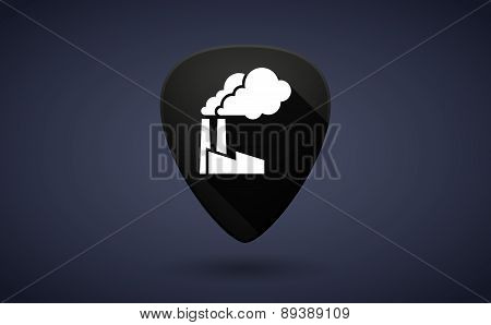 Black Guitar Pick Icon With A Factory