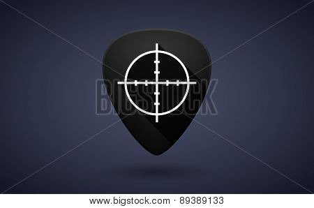 Black Guitar Pick Icon With A Gas Station Sign