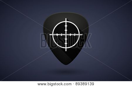 Black Guitar Pick Icon With A Crosshair