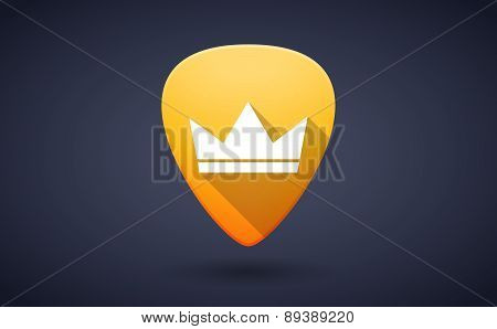 Yellow Guitar Pick Icon With A Crown