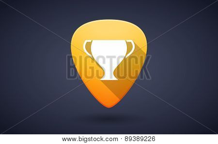 Yellow Guitar Pick Icon With An Award Cup