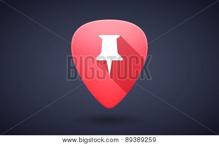 Red Guitar Pick Icon With A Push Pin