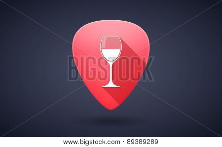 Red Guitar Pick Icon With A Cup Of Wine