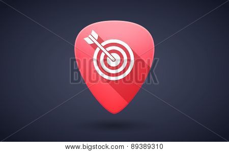 Red Guitar Pick Icon With A Dart Board