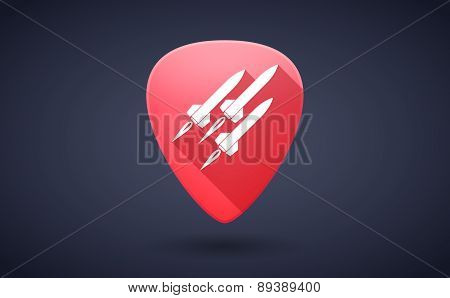 Red Guitar Pick Icon With Missiles