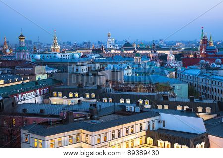Dusk view over center of Moscow, Russia